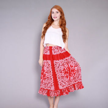 70s BANDANA Print SKIRT / 1970s Red & White Paisley Cotton Full Midi Skirt
