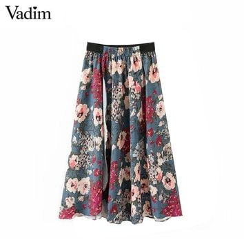 Women Elegant Floral Midi Pleated Skirt Split Vintage Elastic Waist Female Fashion Casual Mid-calf Length Skirts