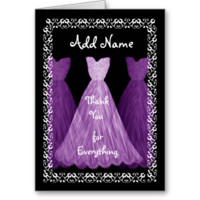 PURPLE Dress BRIDESMAID Wedding Thank You R451B Card
