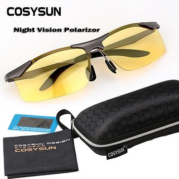 with Free Case Night Vision Goggles Driving Polarized Sunglasses for men's car Driving Glasses Anti-glare Alloy Frame glasses