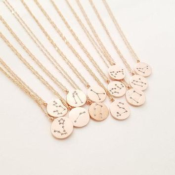 Zodiac Jewelry Celestial Jewelry Constellation Necklace Gold Disk Necklace, Statement jewelry