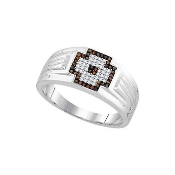 10kt White Gold Mens Round Red Colored Diamond Cross Cluster Ring 1/4 Cttw