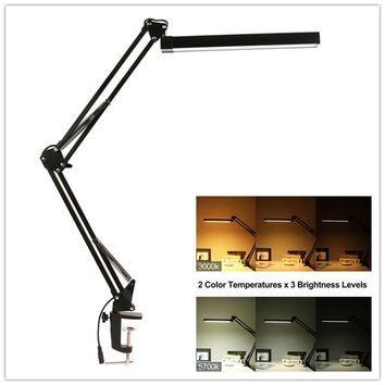 A16S 7W Metal LED Swing Arm Desk Lamp Dimmable Flexible Arm Lamp Clamp for Reading Office 3 Brightness 2 Color Modes Table Light