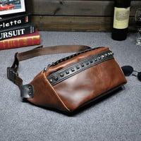 Vintage Mens Leather Studded Outdoor Chest Bag Crossbody Waist Bag