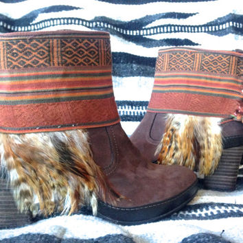 Southwestern Boho Boots, Bohemian feathered ankle layer boots. Size 8