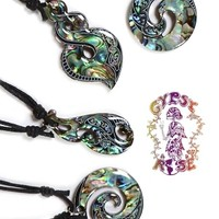 MINI SPACE INLAY PAUA SHELL NECKLACE: Gypsy Rose