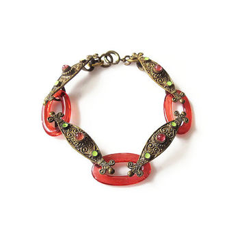 "Art Deco Egyptian Revival Czech Glass Bracelet - Gold Brass, Enamel, Jeweled, Vintage Bracelet 7"" Long"
