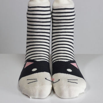 Cat Sock Kitty Socks Black & White Striped Pink Ear White Socks Girls Socks Women Socks Funny Socks Ankle Socks Animal Socks Cute Fun Socks