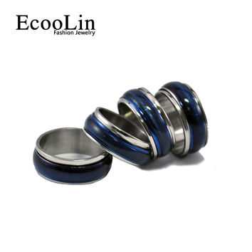 2017 New Hot Blue Opals Enamel Stainless Steel Ring Vintage Style For Punk Women and Rock Men Fashion EcooLin Jewelry LR221