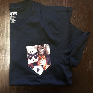 Black Pocket Tshirt All over Cats Print Tee