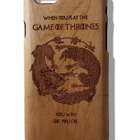 When you play the Game of Thrones you win or you die fan art laser print Iphone 5 /5s/ 6/6s wooden engraved bamboo phone case cover
