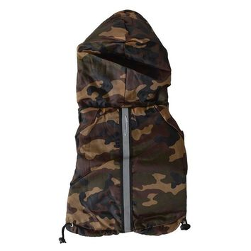 Pet Life Reflecta Rain breaker Adjustable Camouflage Dog Jacket with Hood