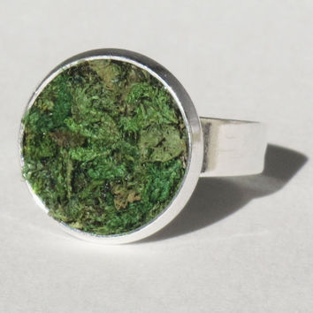 Eco Friendly Moss Ring, Terrarium, Terrarium Jewelry, Living Plant Jewelry, Earth Day, Spring Garden Gift