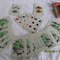 Vintage Playing Cards Mint Green Rose Light Green and Grey Vintage Deck of Cards Jadeite Green Rose