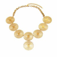 Brass Coin Bib Necklace Handmade in the USA Jewelry