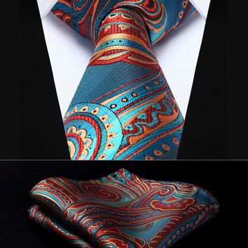 "Party Wedding Classic Pocket Square Tie TP930B8S Blue Burgundy Paisley 3.4"" Silk Woven Men Tie Necktie Handkerchief Set"