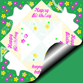 WEEKEND SALE 50% OFF Happy Birthday Cootie Catcher Diy Greeting Card Green Meadow Holiday Printables Pdf Png