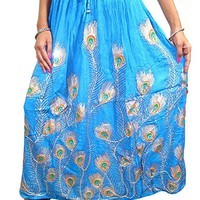 Mogul Interior Turquoise Peacock Sequins Skirts Ankle Length Womens Rayon Skirt