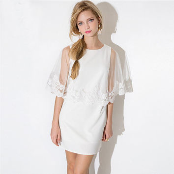 White Sleeveless Mini Dress With Sheer Mesh Lace Embroidered Cloak Cover Up