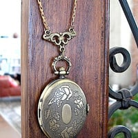 "Brass Pocket Watch Necklace - Large Oval - Free Adjustable Chain 26"" long- genuine working watch- Vintage Brass Snake Chain"