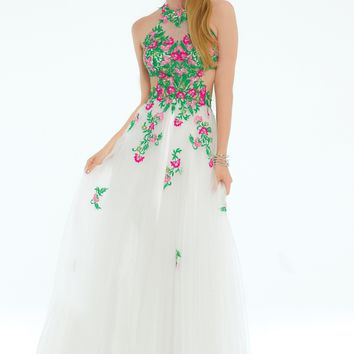 Floral Embroidered Tieback Ballgown Dress from Camille La Vie and Group USA