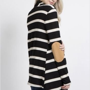 12PM by Mon Ami Striped Cardigan with Elbow Patches