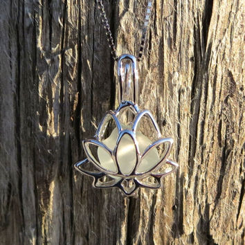 Sea Glass Sterling Silver Lotus Flower White Pale Aqua Locket by Wave of LIfe
