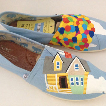Custom Hand Painted UP House Balloons Blue Styled Disney TOMS Womens Mens Youth Everyday Flats Canvas Shoes Iheartpaintingtoms