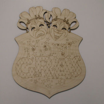 Mardi Gras Wood Sign, Tragedy Comedy Court Jesters,Laser Cut and Etched Wood Shape, Ready to Paint Woodcraft, Home Decor, Wall Art