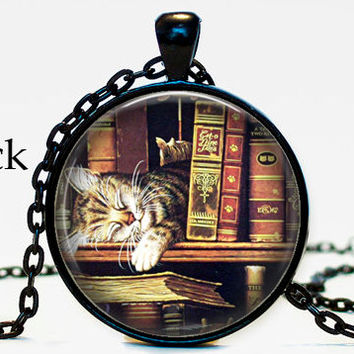 Sleeping cat book self necklace pendant, cat,book,book self, gifts for book lover, antique yellow paper ,resin, glass cabochon