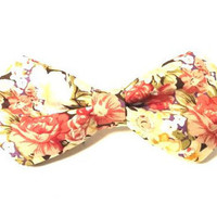 Floral Bow Tie with Red, Pink and Yellow Floral Pattern, Man Bow Tie, Bow tie with Flowers, Diamond Point Bow Tie, Flower Bow Tie, Mens Bow
