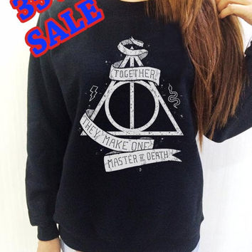 Harry Potter SweatShirt Deathly Hallows Black Shirt Clothing Long Sleeve UNISEX Women Men