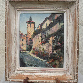 French Provence vintage oil painting. French oil painting. French vintage art. French vintage painting. Small vintage painting. framed art