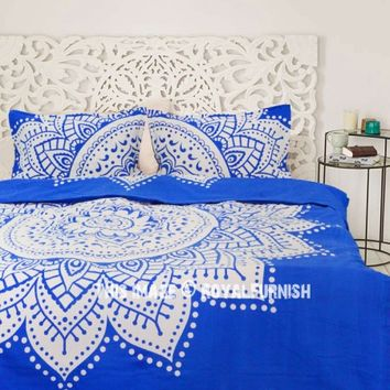 Blue  White Dreams Rangoli Mandala Duvet Covers with Set of 2 Pillow Covers on RoyalFurnish.com