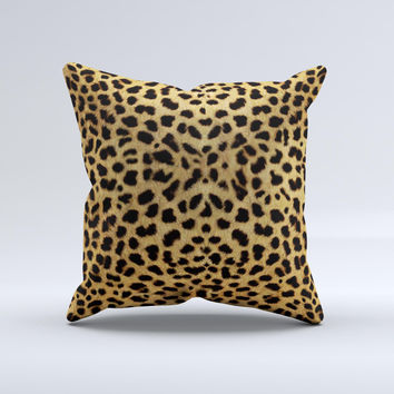 Orange Cheetah Fur Pattern ink-Fuzed Decorative Throw Pillow
