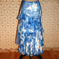 Long Silk Skirt Boho Bohemian Gypsy Ruffle Maxi Skirt Blue + White Batik Hawaiian Skirt Ralph Lauren Size 12 Skirt Large Womens Clothing