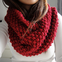 Brooke Chunky Infinity Scarf Cowl, Cranberry Red