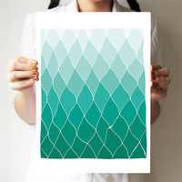 "Geometric print 11""x14"" - Mint - Hands drawing base - Abstract art - Spring art - Rhombus - Ombre art"