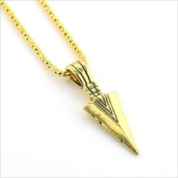 Men's Fashion Jewelry Gold Silver black Arrow Head Pendant Long Chain Necklace mens stainless steel necklaces