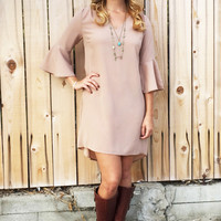 Tan Bell Sleeve Dress - 2 Styles