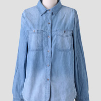 Rebecca Button-Up Chambray Blouse