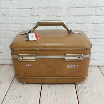 Vintage Tan Train Case American Tourister Cosmetics Case