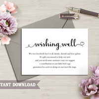 Wishing Well Card, Wedding Wishing Well Wishing Well Printable, Wishing Well Bridal Shower Wedding Insert Heart Script Wishing Well Template
