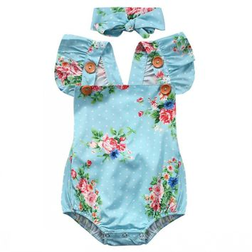 Floral Cotton Fly Sleeve Romper One-piece & Headband