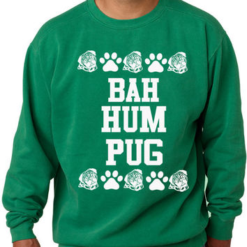 Youth Bah Hum Pug Ugly Christmas Sweater Sweatshirt Pug Sweater Holiday Sweater Unisex Crew Neck Women & Men