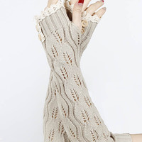 Lace Button Detail Long Wrist Warmers in Beige