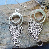 Sterling Silver Chainmaille European 4 in 1 Long Dangle Earrings 3 ...... | Kaeti - Jewelry on ArtFire