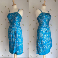 1960's Alfred Shaheen Dress ~ Aqua Blue Brushed Cotton with Silver Print ~ Mint ~ 25 W ~ Vintage 60's