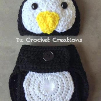 Crochet Penguin - Baby set - Photo Prop - Hat - Diaper Cover - Made with an Adjustable Waist - MADE TO ORDER - Halloween