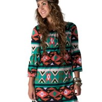 R. Rouge Women's Teal Navajo Print 3/4 Bell Sleeve Dress